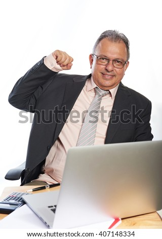 business man  with glasses on working place isolated
