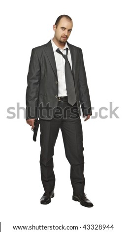 business man with gun isolated on white - stock photo