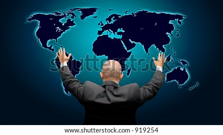 Business man with hands in the air in front of a blue glowing world map - high details