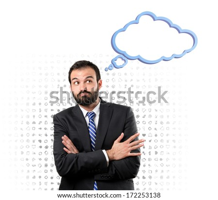 Business man with his arms crossed over isolated background
