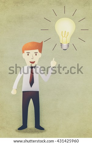 Business man with idea lightbulb - stock photo