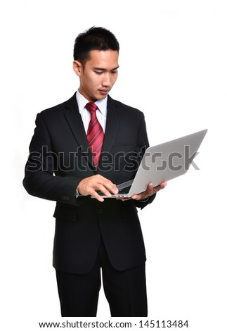 business man with laptop isolated on white background - stock photo