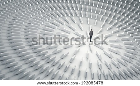 Business man with lots of choices - stock photo
