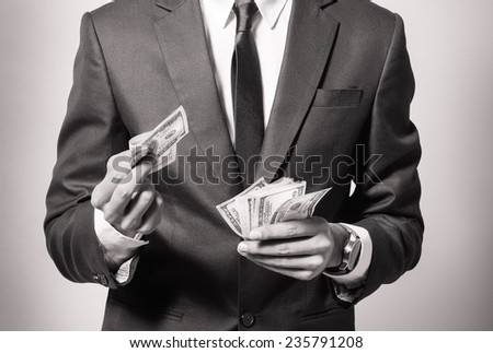 Business man with money - stock photo