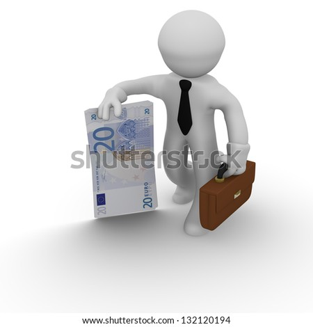 Business man with money on a white background - stock photo