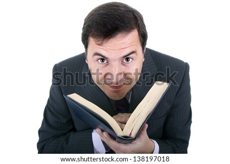 business man with notebook in white background - stock photo