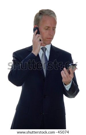 business man with phone and pda