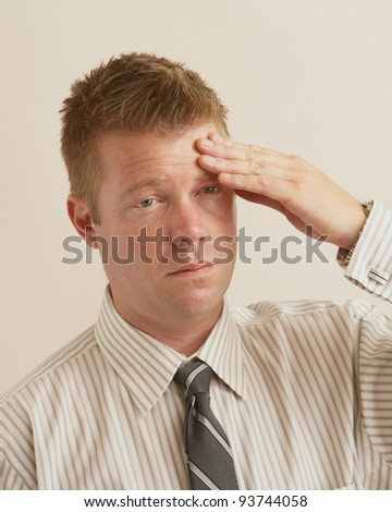Business man with problem stress headache tension - stock photo