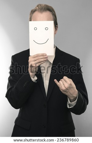 Business man with promise gesture
