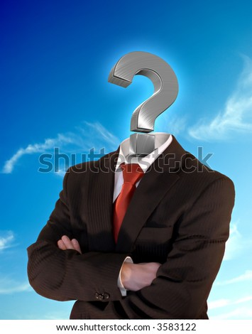 business man with silver question mark instead of head  on a perfect blue sky - stock photo