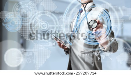 Business man with stethoscope, business analysis concept - stock photo
