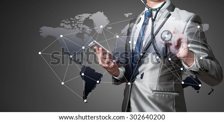 Business man with stethoscope, globalization business concept