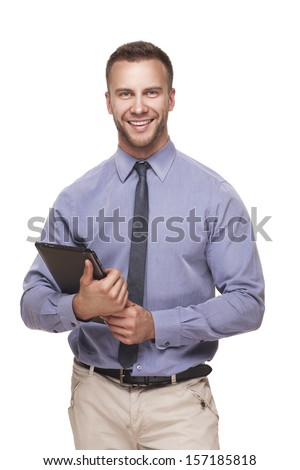 Business man with tablet PC in his hands isolated on white background - stock photo