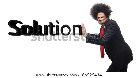 Business man with text - stock photo