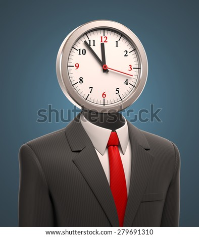 business man with the clock for a head - stock photo