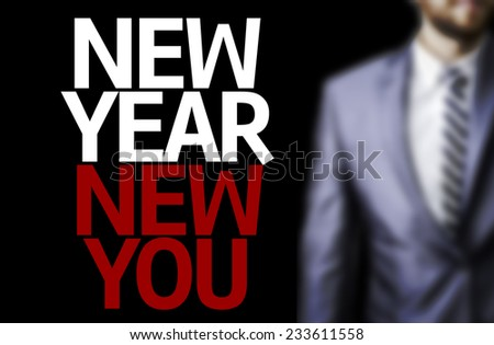 Business man with the text Great Ideas New Year New You in a concept image - stock photo