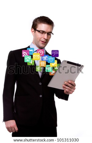 Business man with touch screen device - stock photo