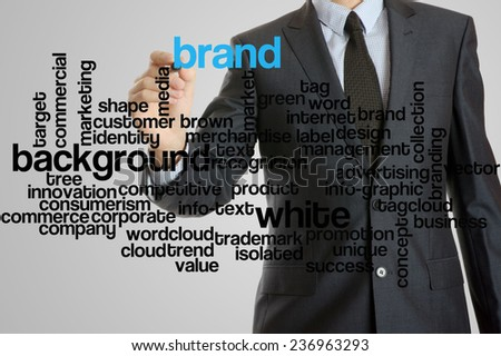 Business man with virtual interface of brand wordcloud