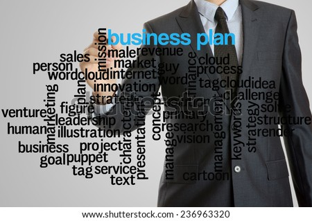 Business man with virtual interface of business plan wordcloud