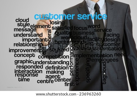 Business man with virtual interface of customer service wordcloud
