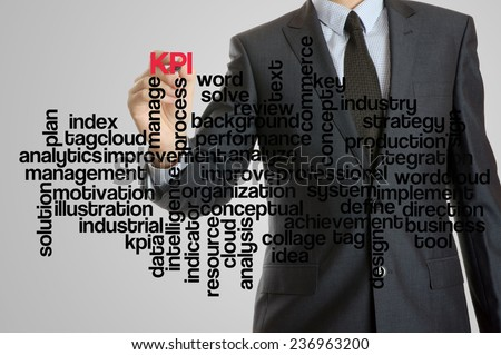 Business man with virtual interface of KPI wordcloud  - stock photo