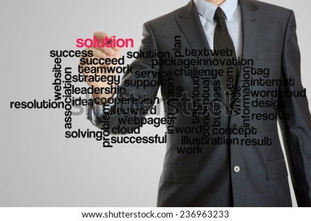 Business man with virtual interface of solution wordcloud