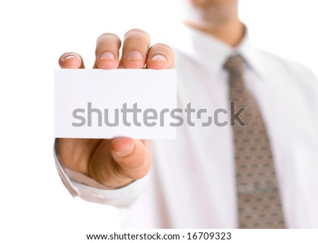 Business man with visiting card