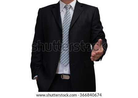 business man with welcome hand in black suite isolated on white background