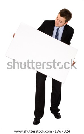 business man with white card over a white background - stock photo