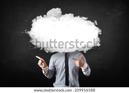 Business man with white cloud on his head concept on grungy background