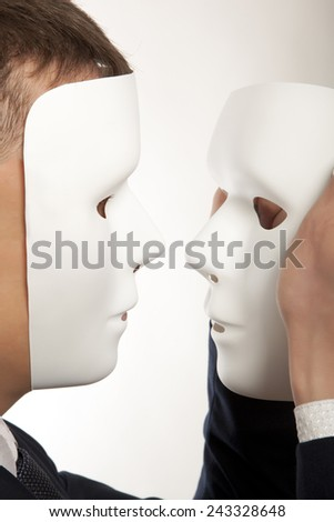 Business man with white  mask - stock photo