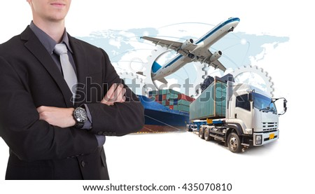 Business man withsupply chain management logistics Import Export concept (Elements of this image furnished by NASA)