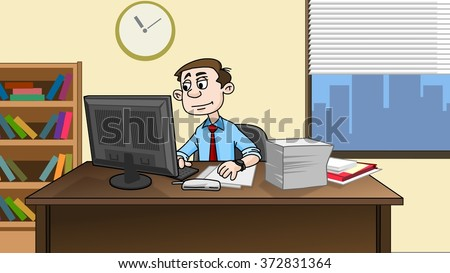 Business man work in modern office on computer. Cartoon illustration. - stock photo