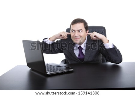 business man working and not listen, with is laptop