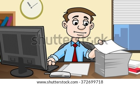 Business man working in office with paperwork - stock photo