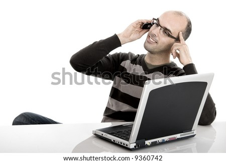 Business man working in the office and making a phone call - stock photo