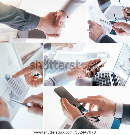Business man working on a laptop at office desk.Business peoples collage of pictures - stock photo