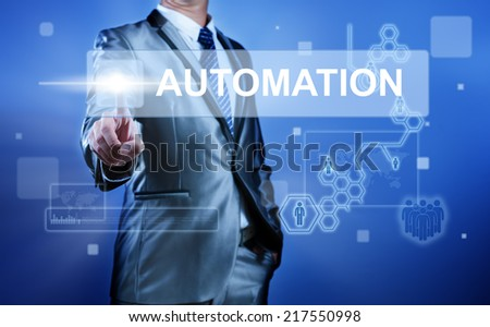 Business man working on digital virtual screen press on button automation - stock photo