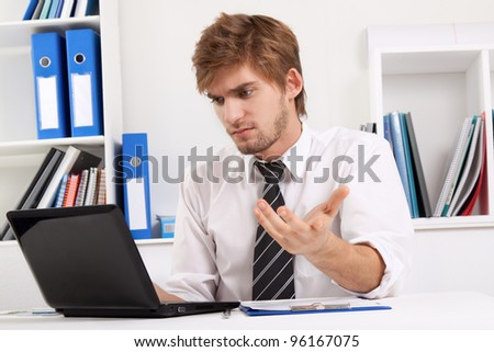 business man working problem using laptop looking at screen hold hands up, businessman sitting at the desk, at office, computer virus or error concept