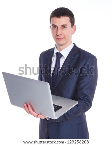 Business man working with a notebook. Isolated white background