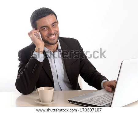 Business man working with computer and mobile phone