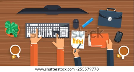Business man working with computer on table, top view. Flat design cartoon style. Raster version - stock photo