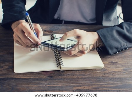 Business man Working With Modern Devices, Digital  And Mobile Phone(Vintage) - stock photo