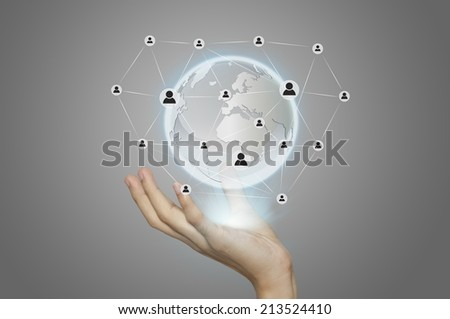 business man working with social network structure. - stock photo