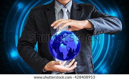 business man world technology