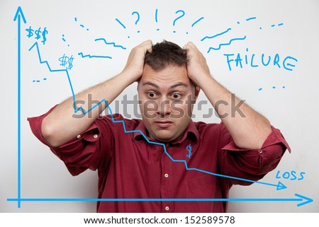 Business man worried about profit loss - stock photo