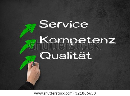 Business Man writes something on a wall, service, competence, quality