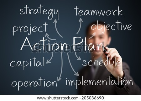 business man writing action plan concept - stock photo