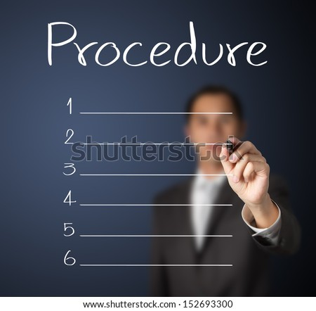 business man writing blank procedure list - stock photo