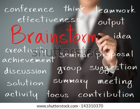 business man writing brainstorm concept - stock photo